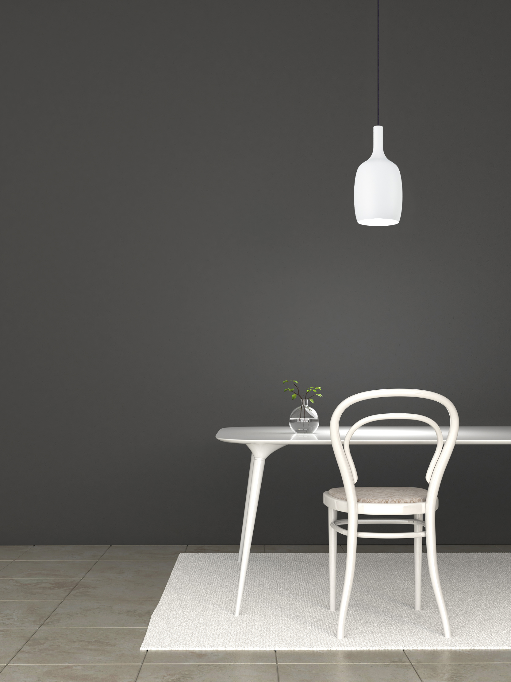 Empty dark room with table and chair in composition